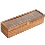 "Tea Box, 5 Compartment, Acacia Wood, 15 1/4"" x 4 1/2"" x 3 3/4"""
