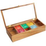"""Tea Box, 10 Compartment, Acacia Wood, 15 1/4"""" x 7 1/2"""" x 3 3/4"""""""