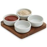"Pinch Bowl / Condiment Serving, 5-Piece Set, Acacia Wood, 6"" x 6"" x 1/2"""