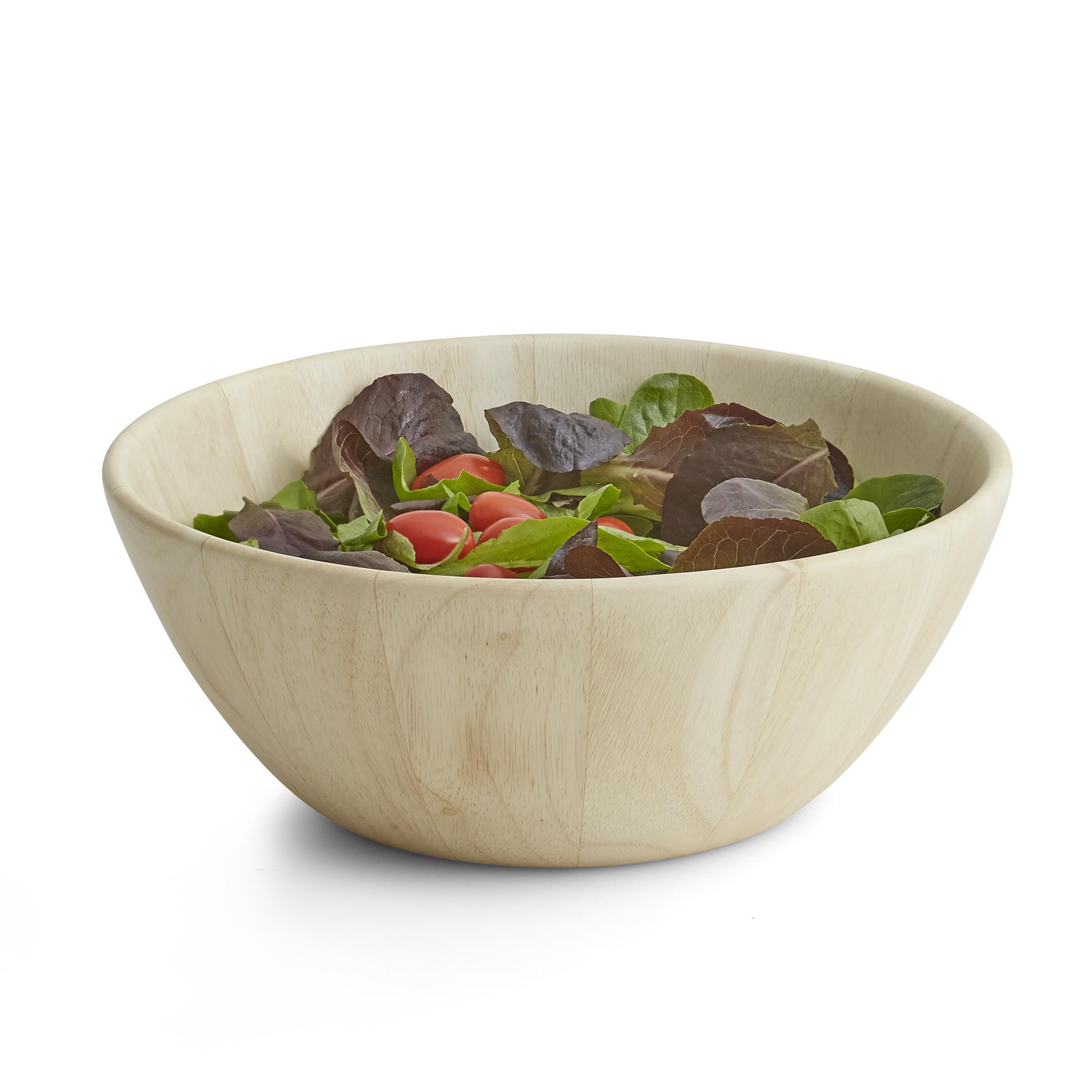7 Pc Salad Bowl Serving Set Whitewash Wood Woodardandcharles Com