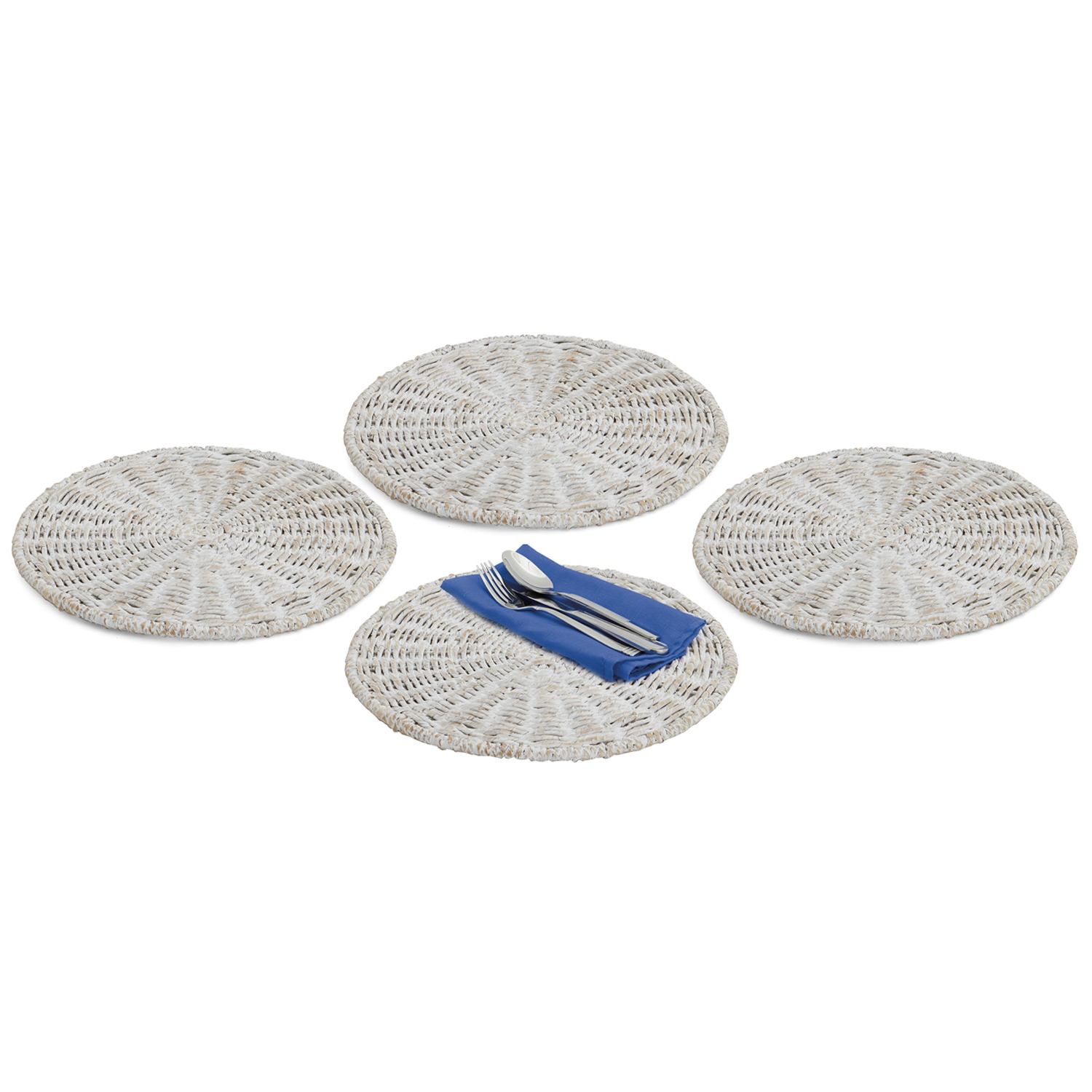 """Charger, 4-Piece Set, 14"""", Whitewash Collection"""