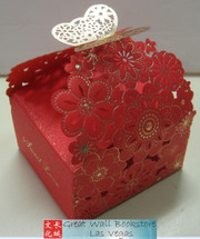 """Chinese Wedding Candy Boxes - 10 boxes (body measured 5.0"""" x 3.25"""" x 2.2"""" - assembly required) (WXQT)"""