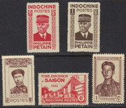 French Indochina Stamps - Emperor Bao Dai, Sihanook, Philippe Petain, foire exposition de saigon - 5 different stamps - MNH, F-VF - (9A072)