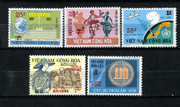 South Vietnam Stamps - 1974-5 , Sc 496-500 Surcharged with New Value and Two Bars in Red - MNH, F-VF  (9V09U)