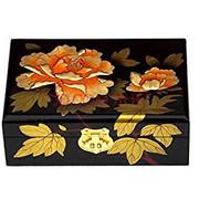 Chinese Wedding Bridal Jewelry Box 复古推光漆器首饰盒木质带锁结婚公主实木简约红色 黑金牡丹 (WXTK)