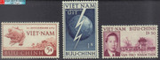 South Vietnam Stamps - 1952, Sc 17-9, Telecommunications Union, UPU, Birthday of Bao Dai - MNH, F-VF  (9V05V)