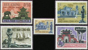 South Vienam Stamps - 1964 , Scott # 247-50 + 250A (Coil Stamp) Landscapes: Temple, Beach, Royal Tomb - MNH, F-VF  (9V0BB)