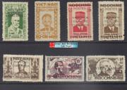 Vietnam Stamps - 1945-46, Sc 1L1,1L6,1L7,1L15, 1L41, 1L44 Viet Minh Overprinted on Indochina Stamps + IL58 (Ho Chi Minh) - NGAI, Mint, F-VF  (9N0B0)