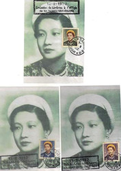 South Vietnam Stamps - 1952, Sc 14-6 complete set of Empress Nam Phuong First Day Cover + 3 First Day Post Cards. F-VF  (9V0CX)