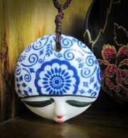 "Porcelain Pendant Necklace : Blue Beauty Face (pendant size: 1.5"" in diameter)(WXCV)"