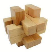 "Wooden Kongming Lock Puzzle - Size: 2.9"" x 2.9""(WXK2)"