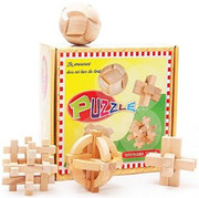 """Wooden Kongming Lock Puzzle: Box Set of 4 Wooden Kongming Lock Puzzles   - Package Box Size: 8.5"""" x 9"""" x 3.5"""" - Each Puzzle around 3.1"""" x 3.1""""(WXKQ)"""