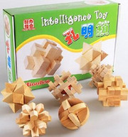 """Wooden Kongming Lock Puzzle: Box Set of 6 Wooden Kongming Lock Puzzles   - Package Box Size: 8.85"""" x 13"""" x 3.25"""" - Each Puzzle around 3.1"""" x 3.1""""(WXKR)"""