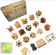 """Wooden Kongming Lock Puzzle: Box Set of 15 Wooden Kongming Lock Puzzles + other goodies  - Package Box Size: 17"""" x 20.5"""" x 3.5"""" - Each Puzzle around 3.1"""" x 3.1""""(WXKT)"""