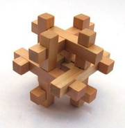 "Wooden Kongming Lock Puzzle - Size: 3.0"" x 3.0""(WXKX)"