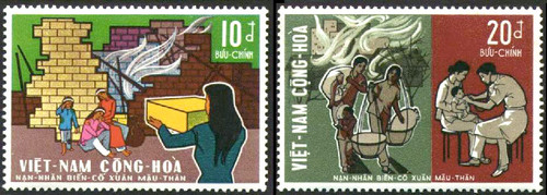 South Vietnam Stamps - 1970 , Sc 368-9, Mau Than Disaster - MNH, F-VF (9V08M)
