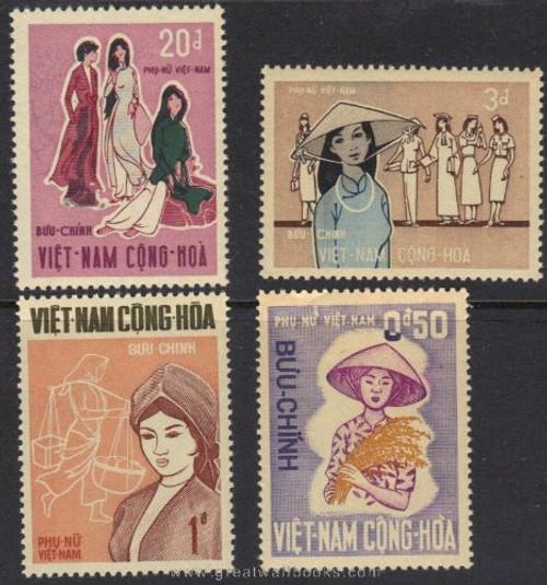 South Vietnam Stamps - 1969 , Sc 343-6 Farm Women, MNH, F-VF  (9V027)