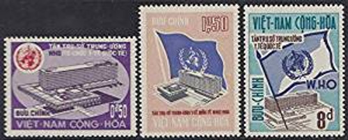South Vietnam Stamps - 1966, Scott 291-3, WHO Building Geneva - MNH, F-VF  (9V056)
