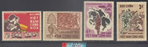 South Vietnam Stamps - 1966, Sc 294-7 Revolution against Nho Dinh Diem 3rd Anniversary - MH, F-VF  (9V0XT)