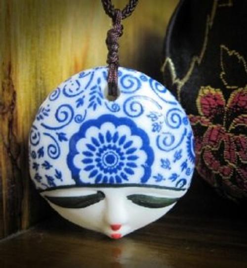 """Porcelain Pendant Necklace : Blue Beauty Face (pendant size: 1.5"""" in diameter)(WXCV)"""