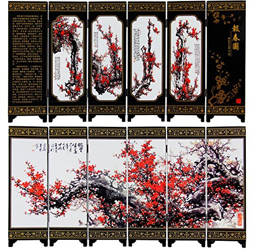 "Lacquer Antique Style Miniature Chinese Panel Screen 漆器仿古小屏风 with ""Spring 报春图"" Theme - screen size: 14.75"" x 5.9"" (WX99)"