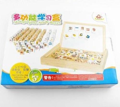 多功能磁性积木学习盒多米诺骨牌识字母数字多米诺 Wooden (w/magnet) Children Multipurpose Study Boxes  (WXVC)