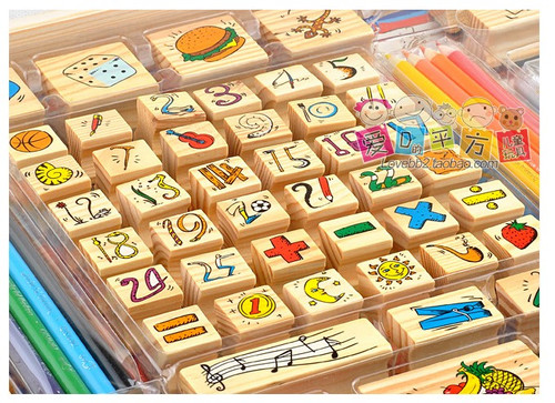 """Children's Stamp Set - 60 wooden stamps for kids w/3 color ink pads, 8 color pencils, 1 coloring book - package size : 17 """" x  12.25 """" x 1.25 """" (WXN6)"""