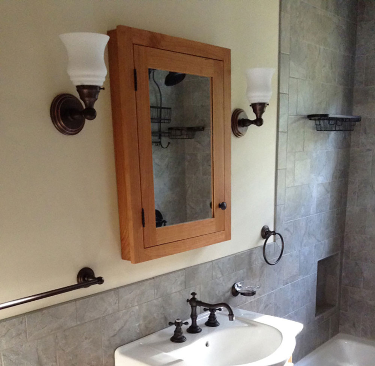 Narrow unfinished recessed medicine cabinet