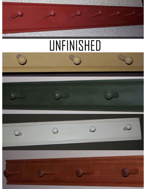 Classic Shaker peg racks, beautifully beaded top & bottom, with Shaker pegs evenly spaced every six inches.