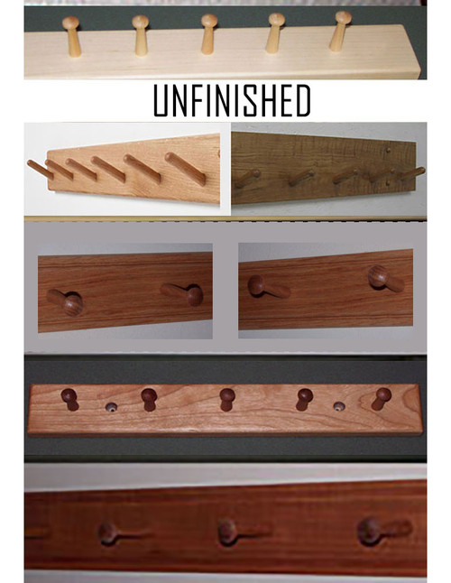 Classic Shaker peg racks [beautifully beaded top & bottom], angled peg racks, and plain peg racks; all with pegs evenly spaced every six inches.