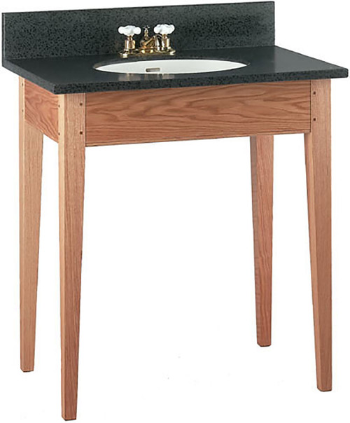 Short Apron Open Style Vanity shown here with Shaker style tapered legs. The top and back-splash are not included.