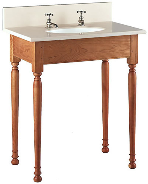 Short Apron Open Style Vanity shown here with Sheraton legs. The top and back-splash are not included.
