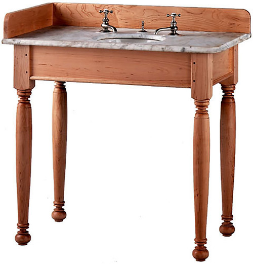 Short Apron Open Style Vanity shown here with Country Sheraton legs. The top and back-splash are not included.