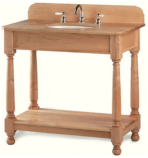 With its heavy farmhouse legs, this ruggedly handsome short apron open style vanity will be the centerpiece of your small bathroom. This particular vanity has a removeable bottom shelf and an optional wooden top and back-splash.