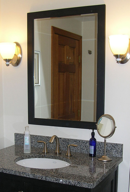 "Our Shaker style painted mirrors are made from American poplar.  The frames are 2-1/4"" wide encompassing very high quality 1/4"" thick mirrors with your choice of a 1"" bevel, 3/4"" bevel, 1/2"" bevel or no bevel."