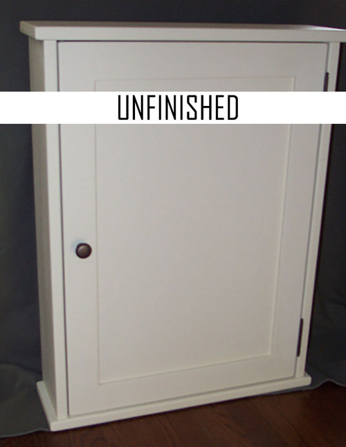 Surface mounted shaker style medicine cabinet with a shaker flat panel door. Shown in white [but the style is the same for unfinished] with oil  rubbed bronze hardware.