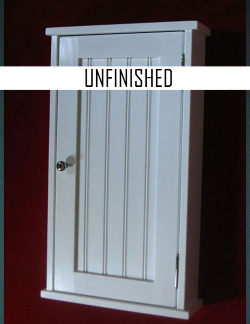 Surface mounted shaker style medicine cabinet with a shaker beadboard panel door. Shown in white [but the style is the same for unfinished] with oil  rubbed bronze hardware.