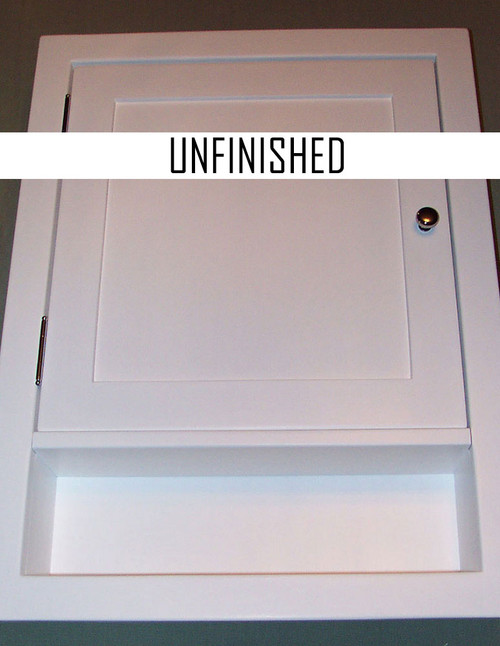 Recessed shaker style medicine cabinet with a shaker paneled door and an open shelf. Shown in white. The style is the same for unfinished.