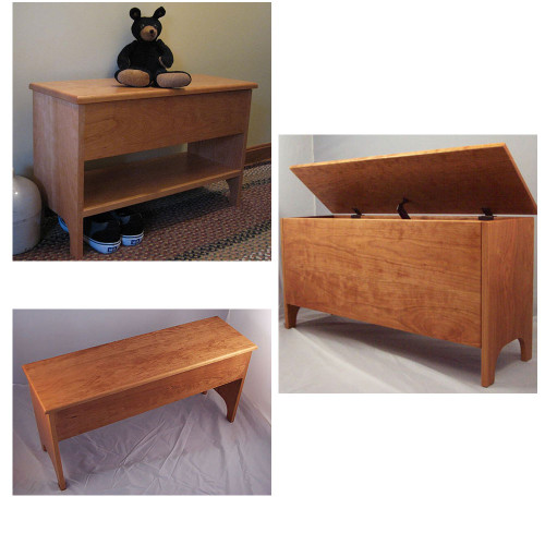 "Our Shaker styled storage benches. Shown here in cherry.  One has a 5"" deep storage box. One is shown with a 12"" deep storage box.  The other storage bench is combined with our shoe bench to give you a shelf 5 1/2"" off the floor under the 5""."