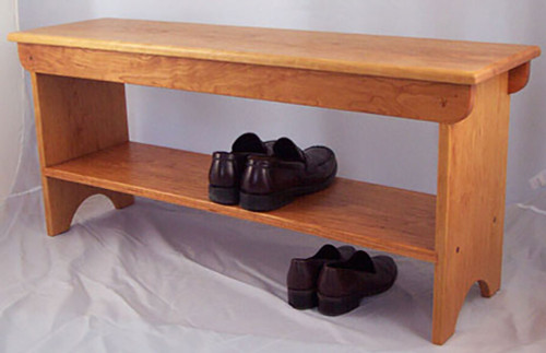 "Our shoe bench shown here is in cherry and features a shelf that is 5 1/2"" off the floor.   17 3/4""H x 11""D.  Length is by the inch from 24"" to 60""."