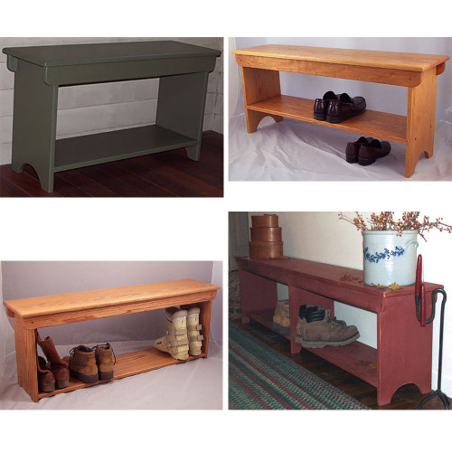 Although one shoe bench and one boot bench shown here are not painted, the designs are the same for painted.