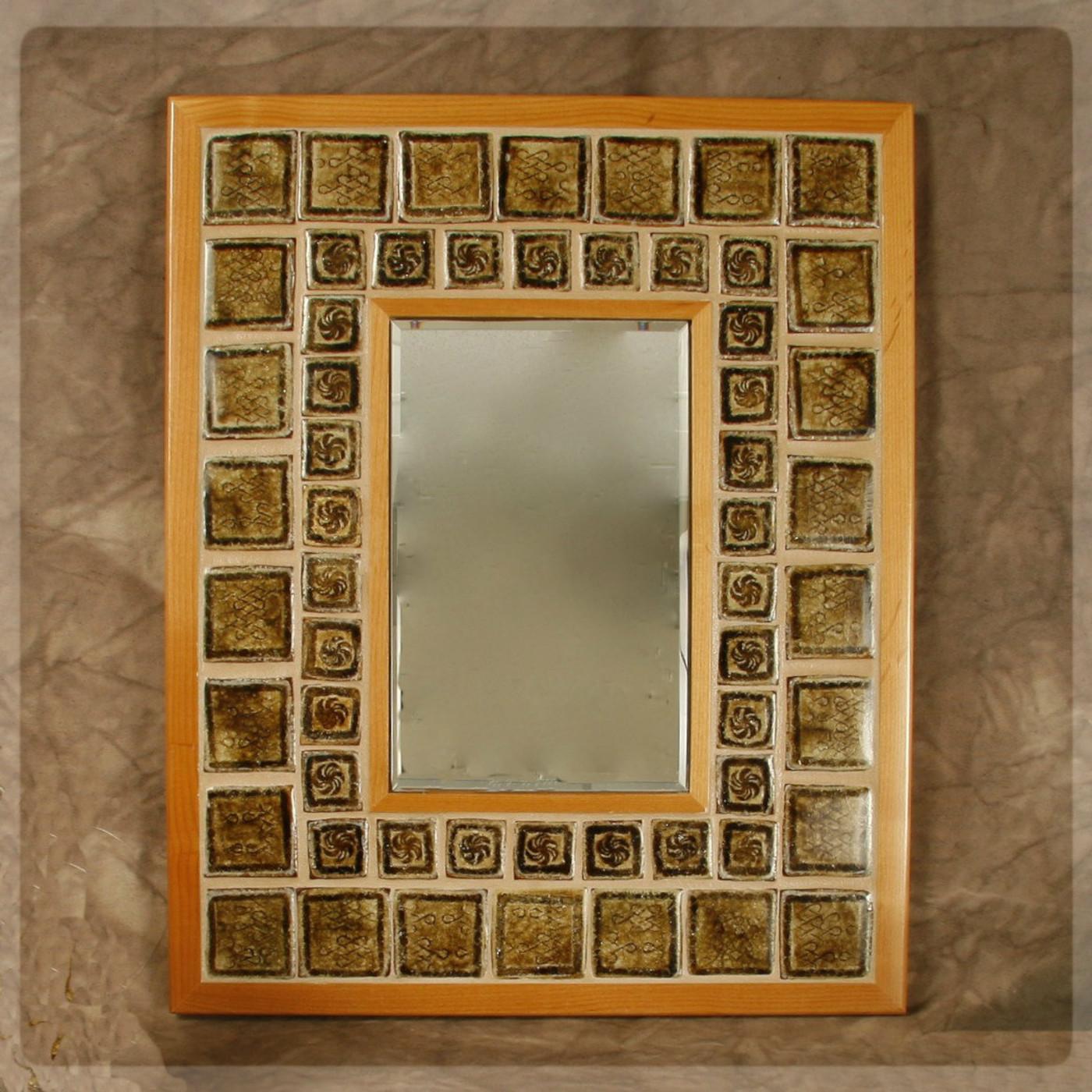 mirror brown wood frame