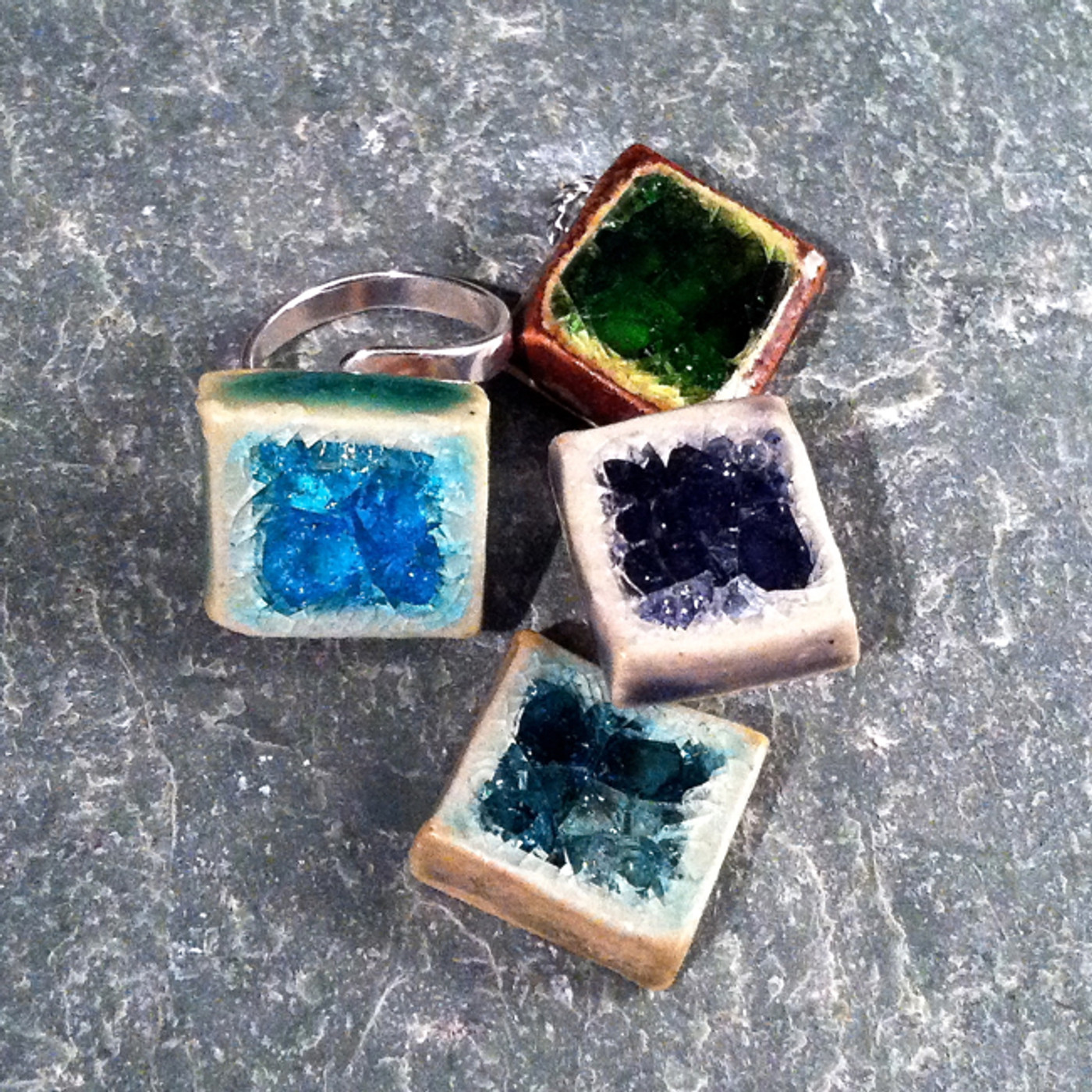 Recycled Glass Rings - Square