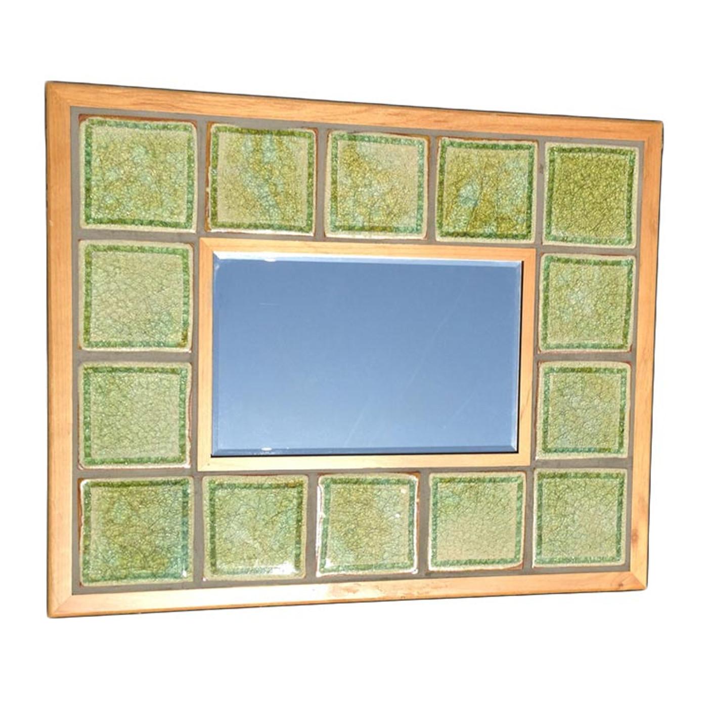 mirror wood frame amber tiles