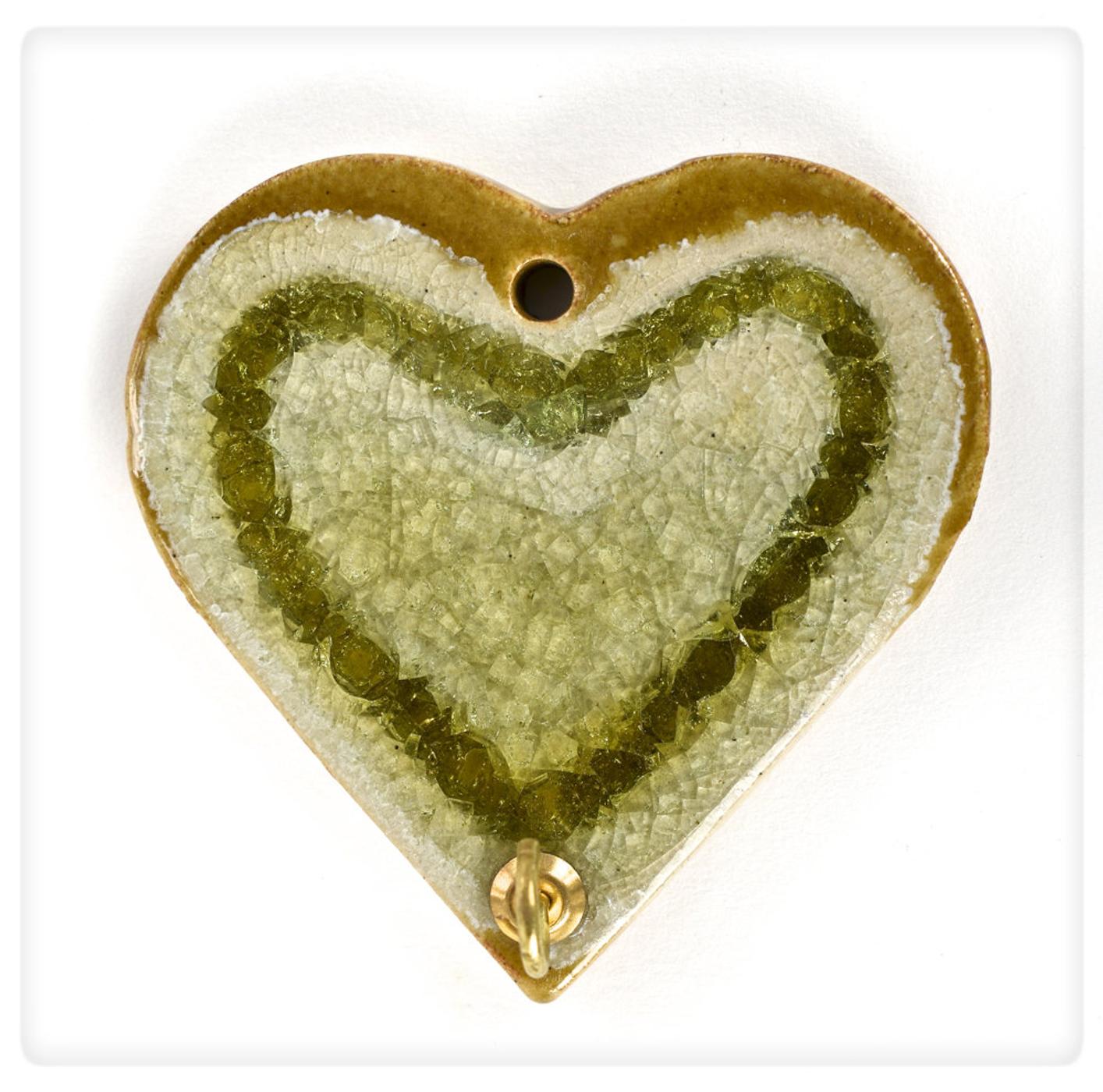 amber glass heart hook