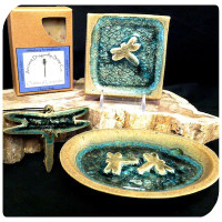 Glass Pottery Dragonfly Set