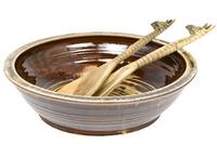 salad bowl brown glass rim