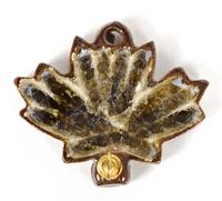 brown glass leaf