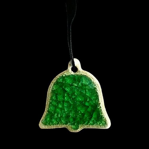 Wedding Bell Ornament - Green Glass