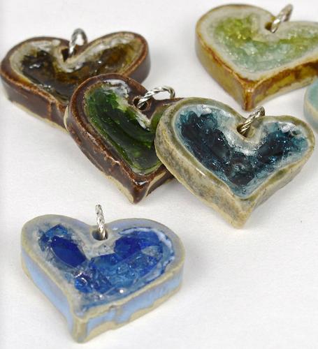 glass heart pendants